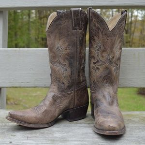 Sonora Double H leather cowboy boots, women's 8.5